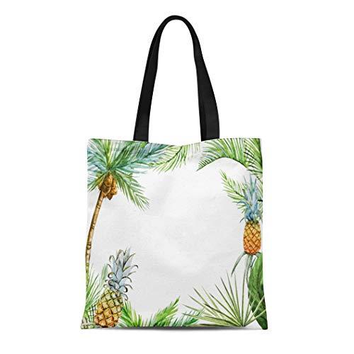 Semtomn Canvas Tote Bag Shoulder Bags India Colorful Bamboo Tropical Watercolor Palm Pineapple Ready Green Women's Handle Shoulder Tote Shopper Handbag
