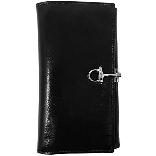 Floto Venezia Checkbook Clutch in Black - leather wallet
