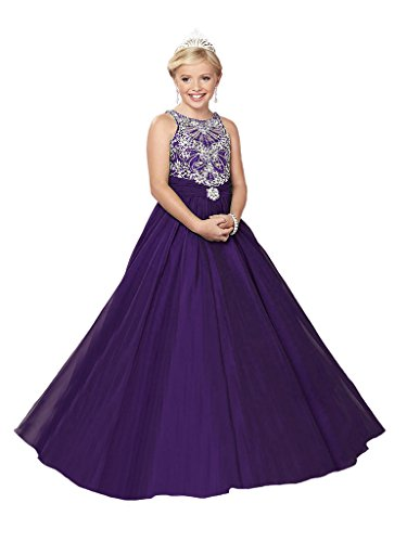 GreenBloom Girls' A-Line Beaded Pearl Hollow Crystals Appliqued Tulle Bodice Pageant Ball Gown Dress Dark Purple 4