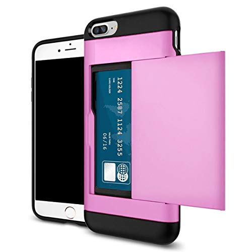 Shockproof Wallet Credit Card Pocket Holder Case Cover for iPhone Xr Xs Xs Max (Hot Pink, iPhone Xr) ()