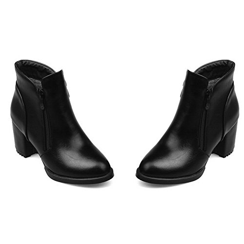 1TO9 Ladies Zipper Kitten-Heels Comfort Imitated Leather Boots Black fxDnTAIQ3