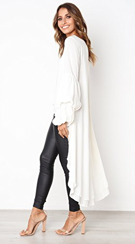 a6b1289f8dc PRETTYGARDEN Women s Lantern Long Sleeve Round Neck High Low Asymmetrical  Irregular Hem Casual Tops Blouse ...