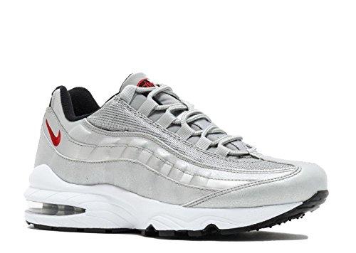 Nike Air Max 95 QS Metallic Silver/Varsity Red (Big Kid) (7 Y M US)