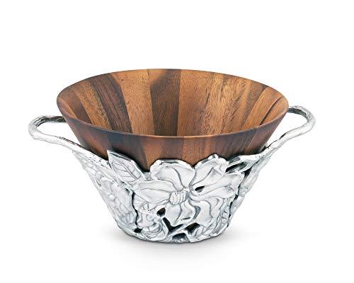 Arthur Court Designs Acacia Wood Salad Bowl with Aluminum Magnolia Holder 12