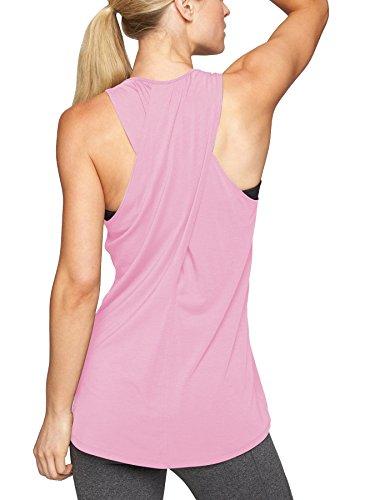 Bestisun Women's Cute Yoga Tank Top Scoop Neck Sleeveless Crossover Back Workout Sport Shirt Racerback T-Shirt Top Pink M