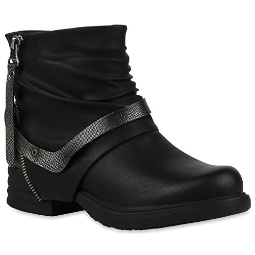 Damen Biker Boots Zipper Stiefeletten Schnallen Lederimitat, Schwarz, 38 EU