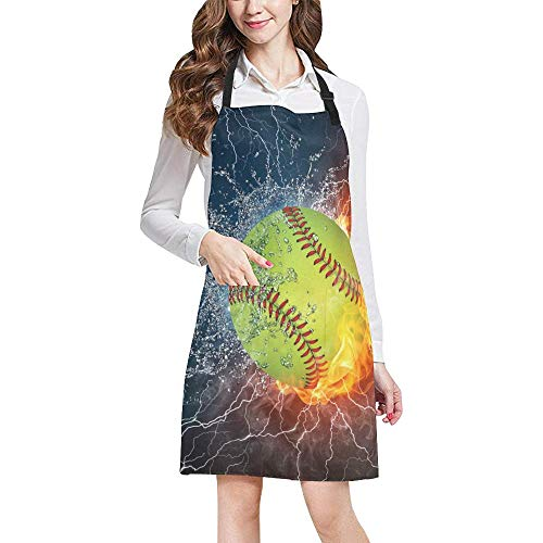 InterestPrint Hipster Cool Softball Ball in Fire and Water Unisex Adjustable Bib Apron with Pockets for Women Men Girls Chef for Cooking Baking Gardening Crafting, Large Size