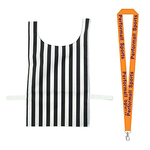 Champion Sports Referee Pinnie Black/White (Set of 2) Bundle with 1 Performall Lanyard NPRF-2P