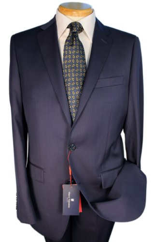 Marco Valentino Solid Navy Slim Cut Men's Suit - Size: 42 - Mens Valentino Suits