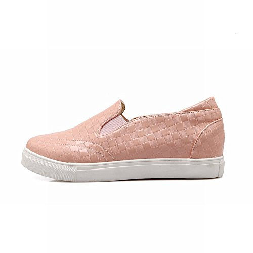 Carolbar Womens Sweet Fashion Geruit Patroon Casual Comfort Cute Simple Loafer Flats Roze