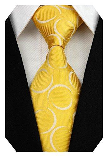 Wehug Men's Classic Tie Silk Woven Necktie Jacquard Neck Ties For Men Yellow LD0038