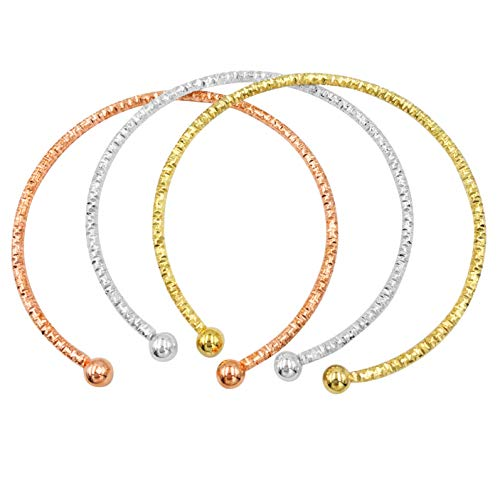 Gypsy Jewels Set of 3 Simple Thin Cut Textured Stacking Layered Cuff Bangle Bracelets (Tri-Tone)