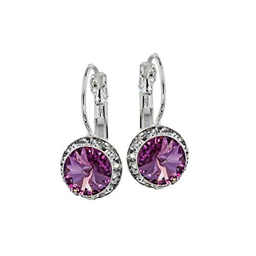 Purple Earrings Casual (Euro Wire Earrings Styles By JS Swarovski Crystals Rondelle Birthstone Earrings (06 - Violet Light Amethyst - June))
