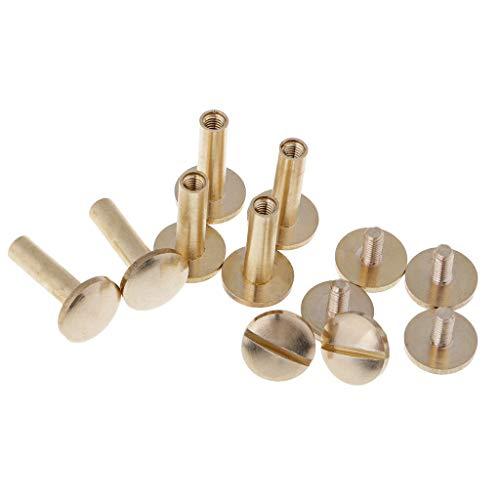 MOPOLIS 6 x Solid Brass Button Stud Screw Nail Screwback Rivet Leather Embellishment | Size - 15mm