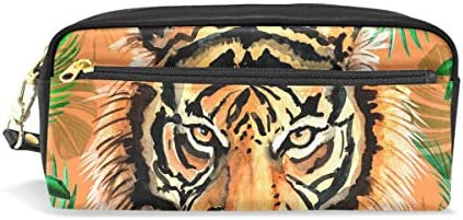 Hunihuni Estuche Estuche Estuche Wild Tiger Gran Capacidad Robusto Cuero PU Papelería Suministros Bolígrafo Bolsillo Bolso Soporte para Escuela Niños Niñas: Amazon.es: Oficina y papelería