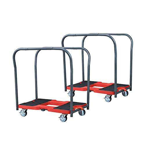 (DOIT Flatbed Cart Hand Platform Truck Push Dolly for Loading with Double Row Handle,Bright Red & Black,Carrying Capacity: 1500)
