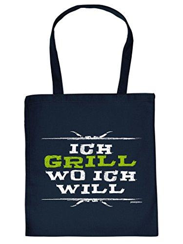 ICH GRILL WO ICH WILL :Tote Bag Henkeltasche Beutel mit Aufdruck. Tragetasche, Must-have, Stofftasche,Grillen