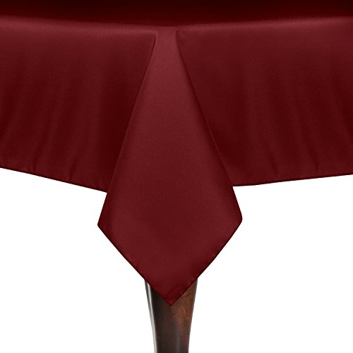 Ultimate Textile (10 Pack) 60 x 120-Inch Rectangular Polyester Linen Tablecloth - for Wedding, Restaurant or Banquet use, Cherry Red by Ultimate Textile (Image #1)'