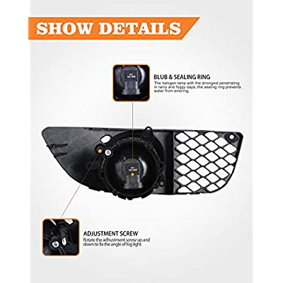 Front Bumper Fog Driving Light Assembly OEM Replacement Series for 2009-2015 Mitsubishi Lancer (not fit EVO & Ralliart models) Clear Lens 2PC with Switch and Wiring Kit AUTOWIKI: Automotive