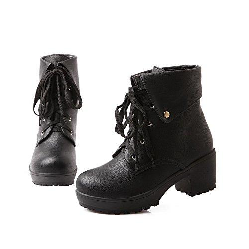 Heels PU Women's Solid Low Round Kitten Boots Toe Closed Top Black AgooLar nZTwzqA0q
