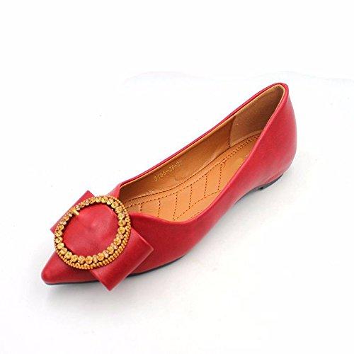 GTVERNH Frühling Mode Bohrer Flachen Mund Starken Kopf Hoch Rein Flache Schuhe Hochzeit Schuhe Komfortable Frauen - Einzel Schuhe.