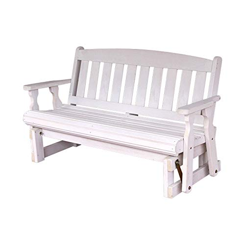 CAF Amish Heavy Duty 800 Lb Mission Pressure Treated Porch Glider (4 Foot, Semi-Solid White Stain) (Bench White Glider)