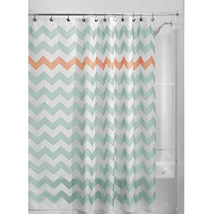 Blue Coral Pink Chevron Pattern Shower Curtain 72quotx72quot Beautiful Horizontal Zigzag Stripes