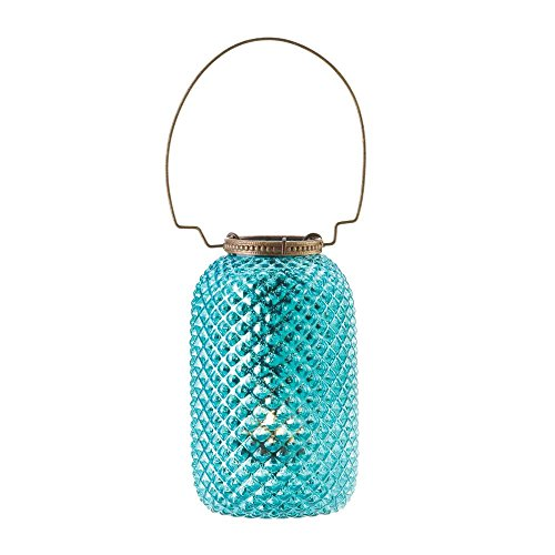 SSJSHOP Blue Diamond Vintage Style Glass Candle Lanterns Holders Centerpiece Home Decorations (At Sixteen The Edinburgh Christmas)