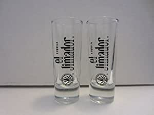 Set of 2 El Jimador Tequila Jalisco Mexico J Agave Logo Shooter Double Shot Glasses