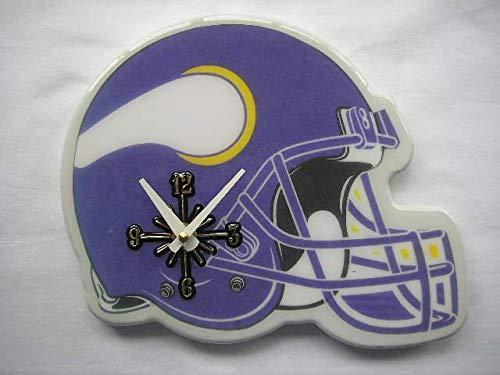 MISC NFL Minnesota Vikings Wall Clock Helmet Shaped Football Clock Sports Design Unique Decorative Home Decor Team Logo Printed Athletic Games Fans Gift Birthday Housewarming, Resin Plastic