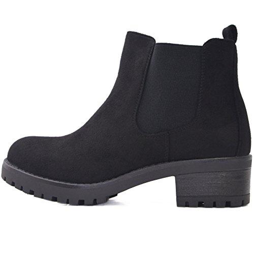 Kayla Shoes© Chelsea Boots Stiefelette in Schwarz oder Braun (38, Schwarz Samt)