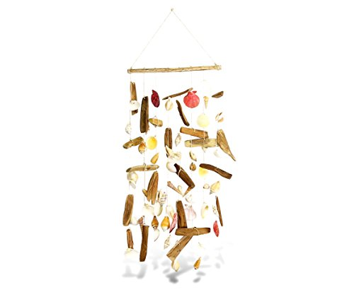 - Puzzled White & Brown Mixed Shell Driftwood Wall Hanging Ornament, 24 Inches Intricate & Meticulous Detailing Art Handcrafted Decoration Wind Chime Hanging Accent Nautical Themed Home & Kitchen Decor