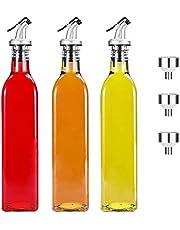 Aischens Azijn- en oliedispenser, verpakking van 3 stuks, olijfolie dispenser, oliefles met schenktuit, olijfolie dispenser met anti-vuilsluiting, met 3 trechters voor keuken, grill, pasta, salades en bakken