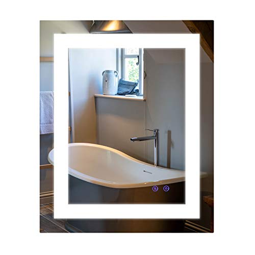 CO-Z Anti Fog Wall Mounted LED Lighted Bathroom Mirror with Defogger and -