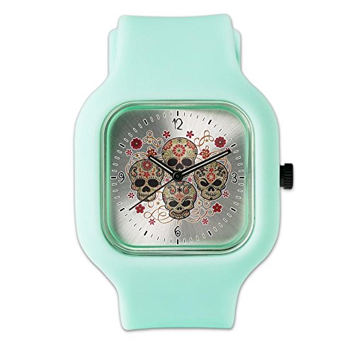 SeaFoam Fashion Sport Watch Flower Skulls Goth