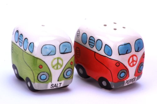 41ugVwPqOnL 24-7sale Camper Bus Salzstreuer/Pfefferstreuer - aus Keramik, Farbe wählbar, im 2er Set. (Blau)