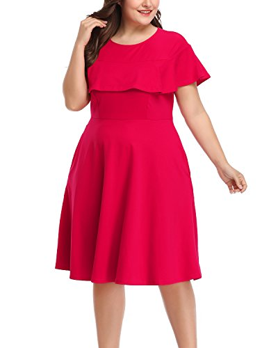 A-line Illusion (Daci Women's Plus Size Crew Neck Illusion Ruffle High Waist A-Line Midi Cocktail Dress Rose 20W)