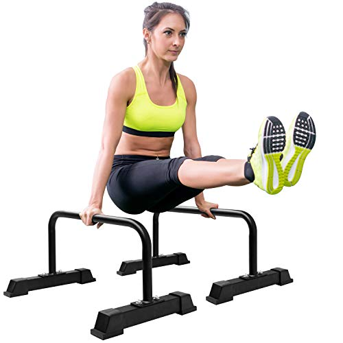 Yes4All Steel Parallettes Push-Up Bars, Parallette Bars, Push Up Stand with Non-Slip Rubber Feet 24x12 inch (WxH), 1.5' Handle