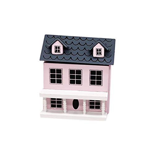 Karooch 1:12 Mini Doll House Pink or Blue Wall Gray Top Cute Pocket Villa Miniature Toy, Can be Opened as a Small Object Storage