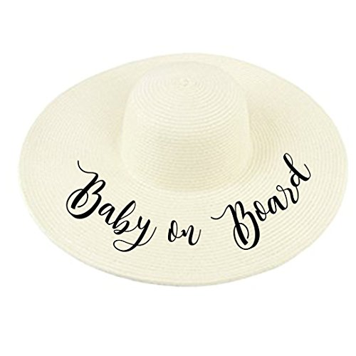 (Baby on Board Cursive Calligraphy Wide Brim Straw Sun Hat in Ivory Black- Pregnancy Announcement (Ivory) )