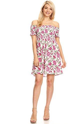 Shoulder Print White Junior Women's Floral Off Dress Short wqn7q6ORE