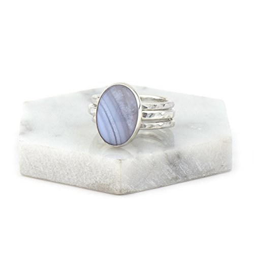 Agate Blue Agate Ring (Blue Lace Agate Sterling Silver Stacking Ring Set, Size 5.5 Handmade)