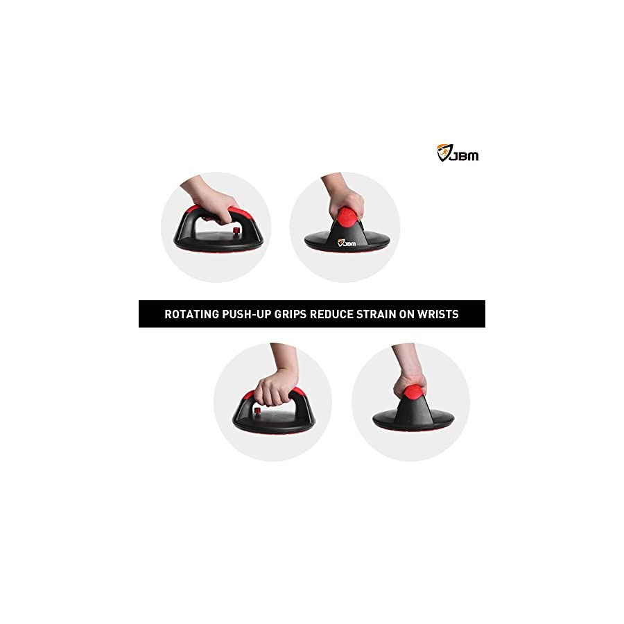 JBM Rotating Push Up Stands Pink Push up Bars No Slip, wide Contoured Grips for Max Comfort, Smooth Rotation Eliminates Wrist Strain, Perfect for Women, Fitness Workouts, P90X and CrossFit