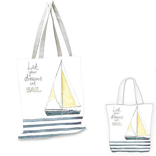 Nautical canvas laptop bag Let Your Dreams Set Sail Quote Stripes Yacht Interior Navigation Theme canvas tote bag with pockets Pale Blue White. 14