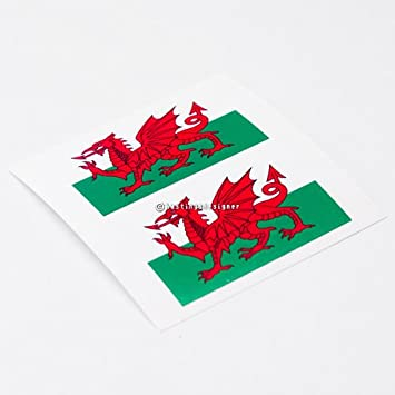 2x wales flag welsh cymru laminated carwindowbumper vinyl decal stickers
