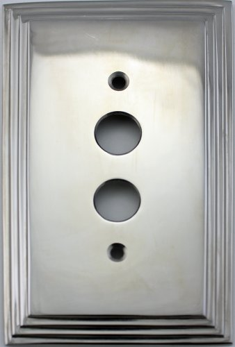 (Polished Nickel Deco Step Style 1 Gang Push Button Light Switch Wall Plate)