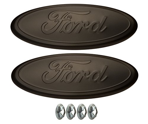 Muzzys (SET OF TWO) 05-14 FORD F150 MATTE (FLAT) BLACKED OUT Front Grille AND Tailgate Emblem Set WITH NUTS, Oval 9
