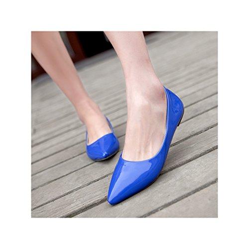 OCHENTA Mujer Color Caramelo de Charol Puntiagudo Moda Salvajes Zapatos Azul