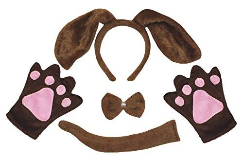 Petitebella Dog Headband Bowtie Tail Gloves 4pc Adult Costume (One Size, Brown Dog)