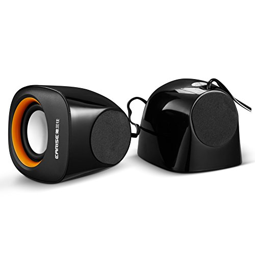 Earise AL-101 3.5mm Mini Computer Speakers Powered by USB Black by Earise (Image #7)